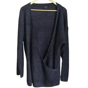F21+ Navy Blue Faux Wrap V Neck Knitted Sweater